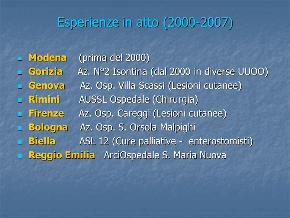 Esperienze in atto (2000-2007) Modena (prima del 2000) Modena (prima del 2000) Gorizia Az. N°2 Isontina (dal 2000 in diverse UUOO) Gorizia Az. N°2 Iso