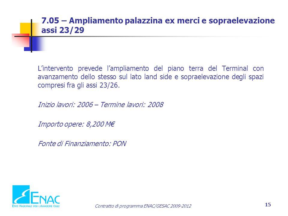 Contratto di programma ENAC/GESAC 2009-2012 15 7.05 – Ampliamento palazzina ex merci e sopraelevazione assi 23/29 L'intervento prevede l'ampliamento del piano terra del Terminal con avanzamento dello stesso sul lato land side e sopraelevazione degli spazi compresi fra gli assi 23/26.