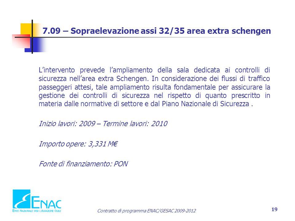 Contratto di programma ENAC/GESAC 2009-2012 19 7.09 – Sopraelevazione assi 32/35 area extra schengen L'intervento prevede l'ampliamento della sala dedicata ai controlli di sicurezza nell'area extra Schengen.