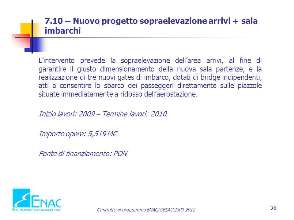 Contratto di programma ENAC/GESAC 2009-2012 20 7.10 – Nuovo progetto sopraelevazione arrivi + sala imbarchi L'intervento prevede la sopraelevazione de