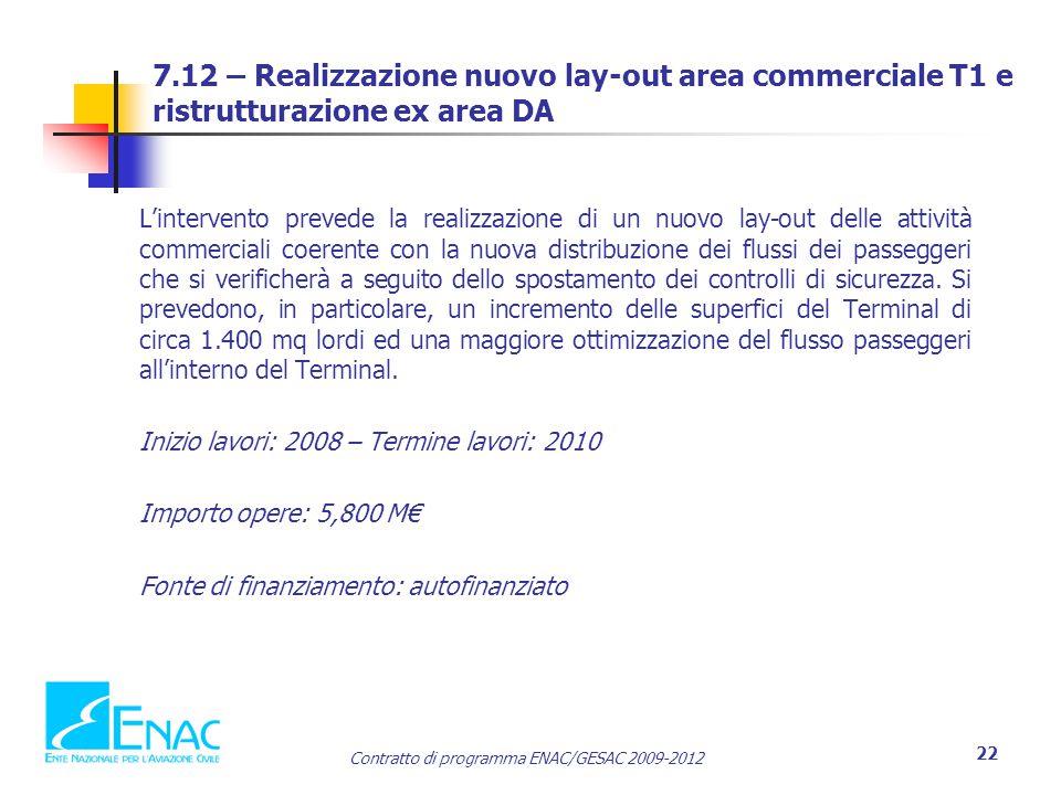 Contratto di programma ENAC/GESAC 2009-2012 22 7.12 – Realizzazione nuovo lay-out area commerciale T1 e ristrutturazione ex area DA L'intervento preve