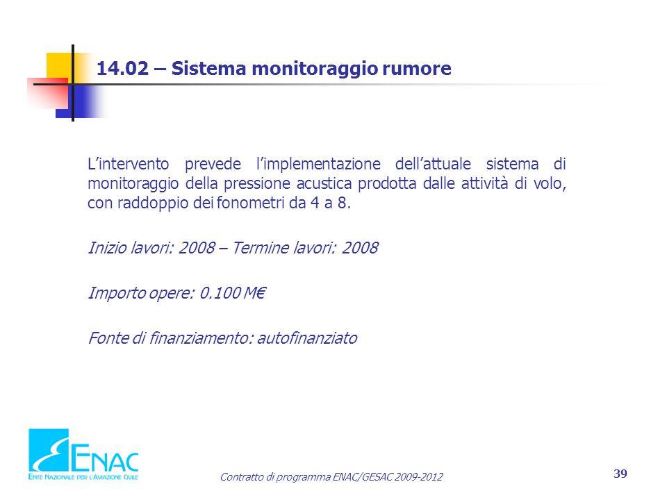 Contratto di programma ENAC/GESAC 2009-2012 39 14.02 – Sistema monitoraggio rumore L'intervento prevede l'implementazione dell'attuale sistema di monitoraggio della pressione acustica prodotta dalle attività di volo, con raddoppio dei fonometri da 4 a 8.