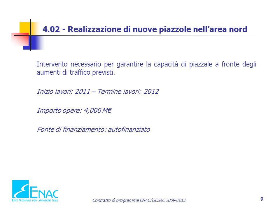 Contratto di programma ENAC/GESAC 2009-2012 9 4.02 - Realizzazione di nuove piazzole nell'area nord Intervento necessario per garantire la capacità di piazzale a fronte degli aumenti di traffico previsti.