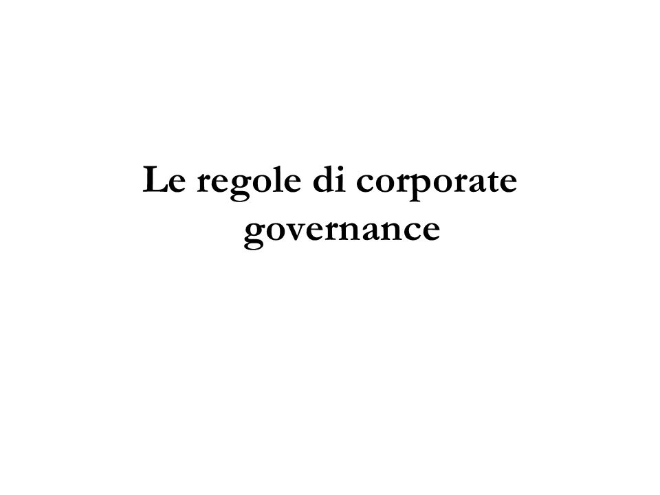Le regole di corporate governance