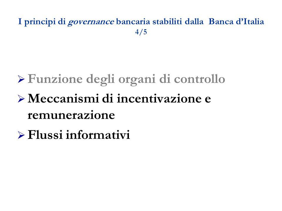 I principi di governance bancaria stabiliti dalla Banca d'Italia 4/5  Funzione degli organi di controllo  Meccanismi di incentivazione e remunerazione  Flussi informativi