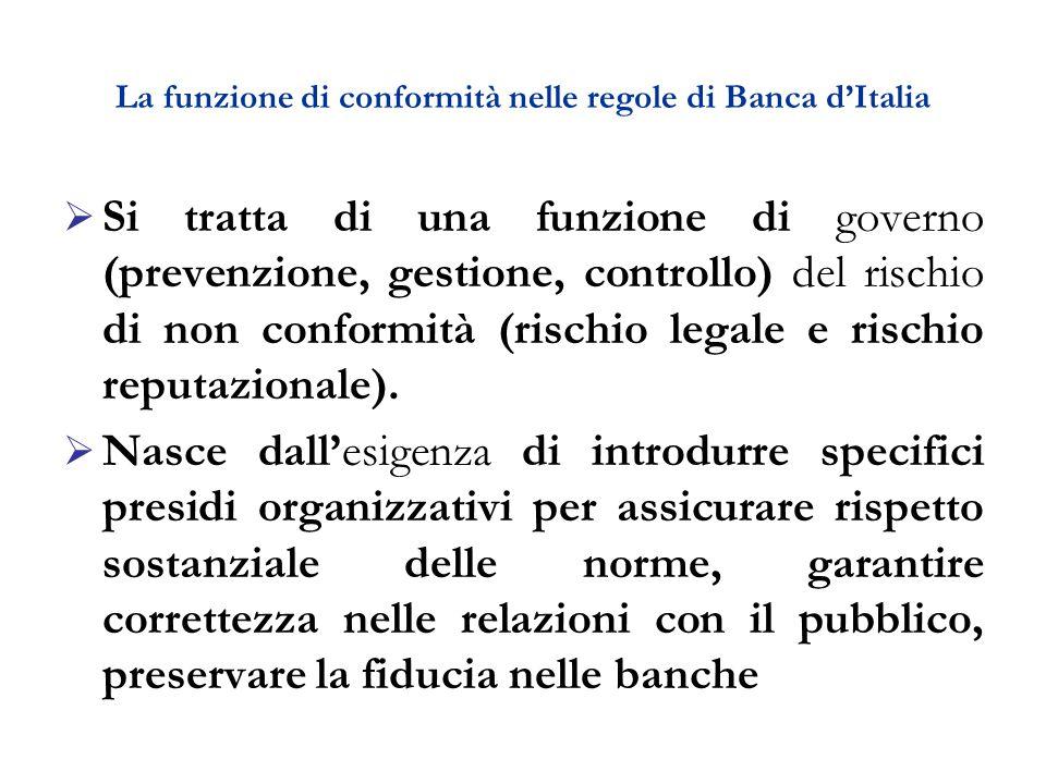 La funzione di conformità nelle regole di Banca d'Italia  Si tratta di una funzione di governo (prevenzione, gestione, controllo) del rischio di non conformità (rischio legale e rischio reputazionale).