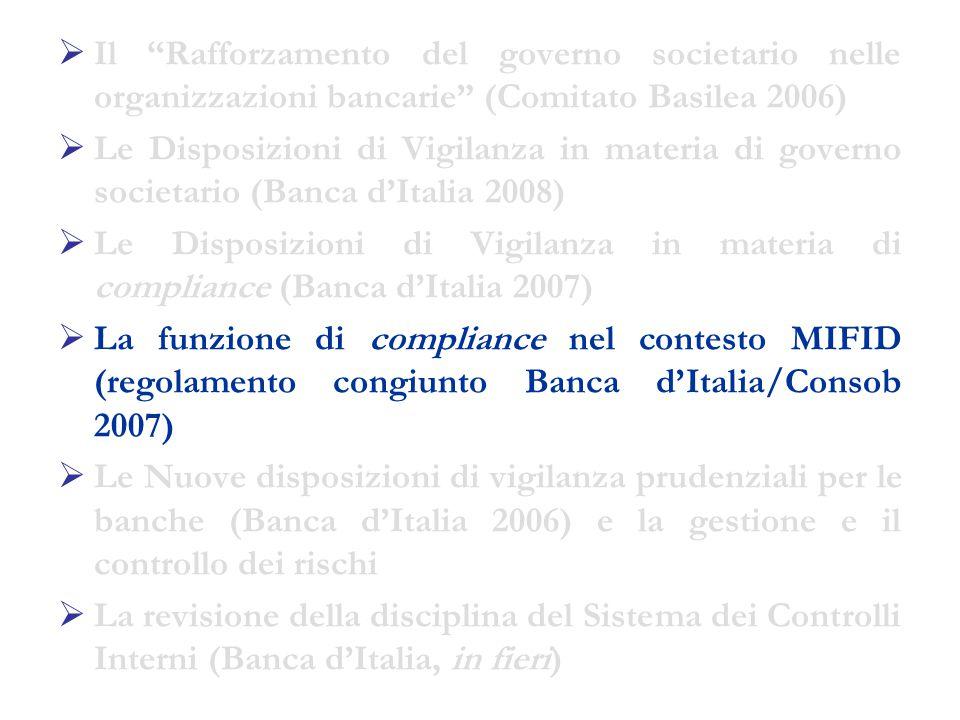  Il Rafforzamento del governo societario nelle organizzazioni bancarie (Comitato Basilea 2006)  Le Disposizioni di Vigilanza in materia di governo societario (Banca d'Italia 2008)  Le Disposizioni di Vigilanza in materia di compliance (Banca d'Italia 2007)  La funzione di compliance nel contesto MIFID (regolamento congiunto Banca d'Italia/Consob 2007)  Le Nuove disposizioni di vigilanza prudenziali per le banche (Banca d'Italia 2006) e la gestione e il controllo dei rischi  La revisione della disciplina del Sistema dei Controlli Interni (Banca d'Italia, in fieri)