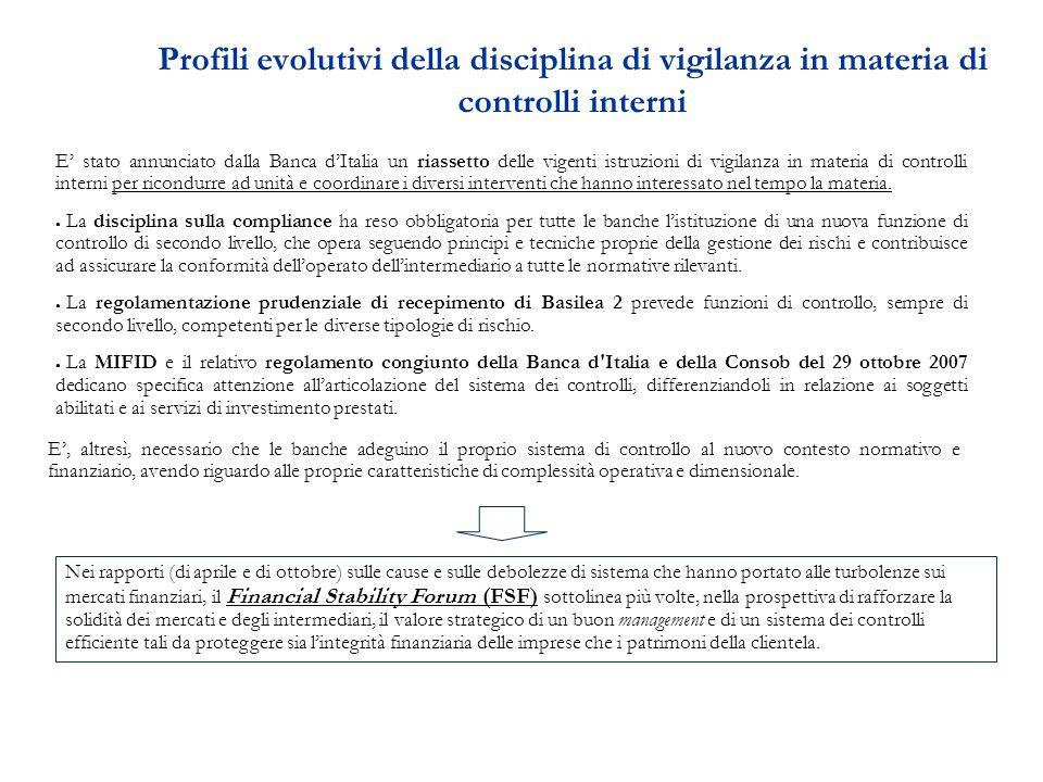 Profili evolutivi della disciplina di vigilanza in materia di controlli interni E' stato annunciato dalla Banca d'Italia un riassetto delle vigenti istruzioni di vigilanza in materia di controlli interni per ricondurre ad unità e coordinare i diversi interventi che hanno interessato nel tempo la materia.