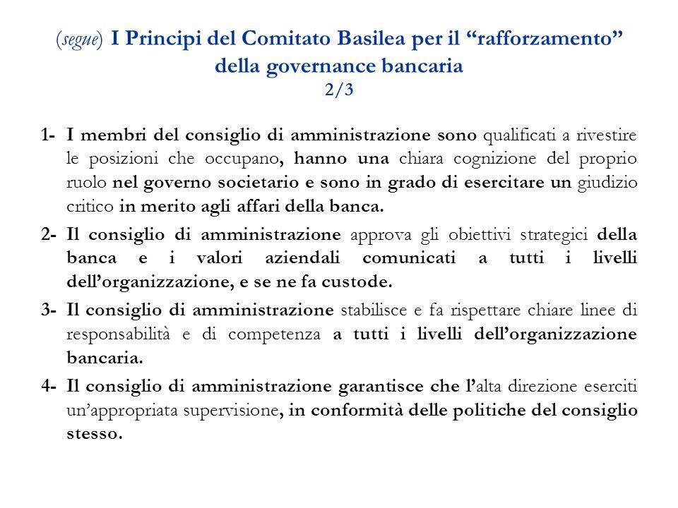 B - La gestione e il controllo dei rischi: ruolo degli organi aziendali Circolare della Banca d Italia n.