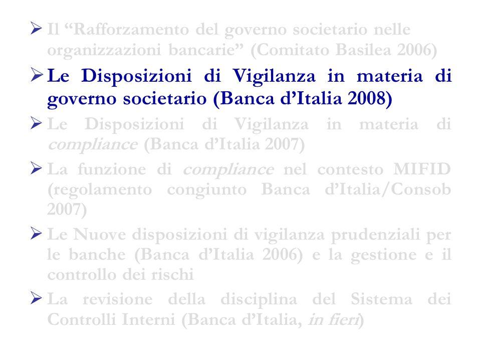 Le Disposizioni di Vigilanza in materia di organizzazione e governo societario delle banche (Banca d'Italia, marzo 2008) 1/5  Caratteri della regolamentazione: oPrinciple based Regulation oPrincipio di proporzionalità oDisciplina per funzioni e non per organi