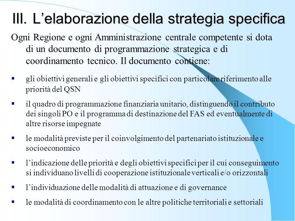 III. L'elaborazione della strategia specifica Ogni Regione e ogni Amministrazione centrale competente si dota di un documento di programmazione strate