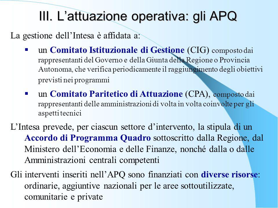 III. L'attuazione operativa: gli APQ La gestione dell'Intesa è affidata a:  un Comitato Istituzionale di Gestione (CIG) composto dai rappresentanti d