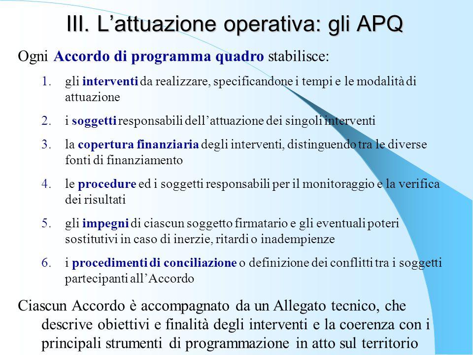 III. L'attuazione operativa: gli APQ Ogni Accordo di programma quadro stabilisce: 1.gli interventi da realizzare, specificandone i tempi e le modalità