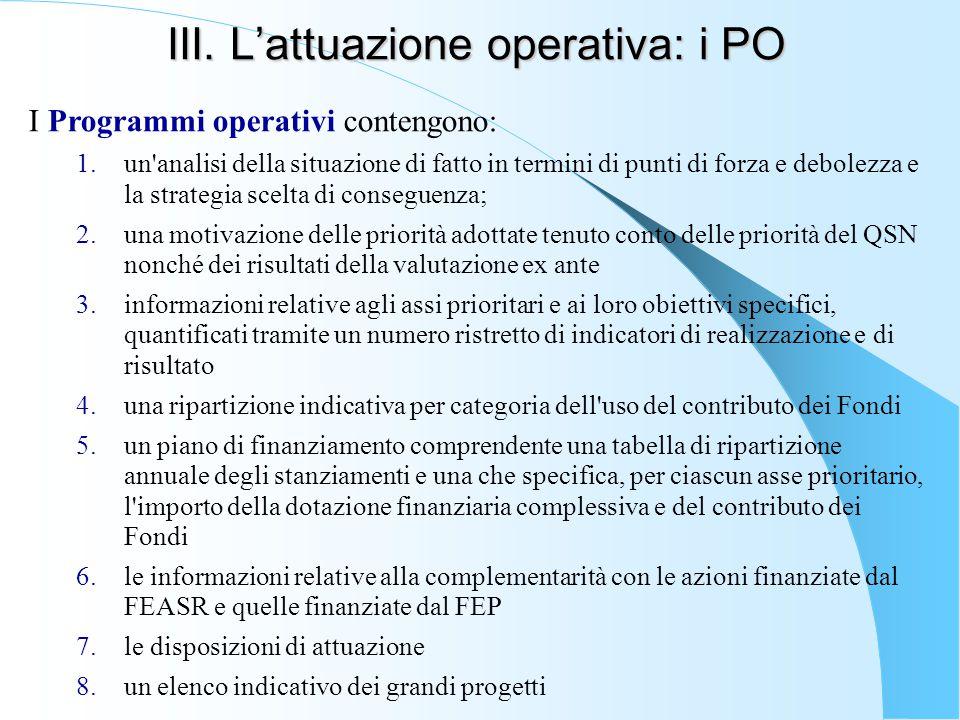 III. L'attuazione operativa: i PO I Programmi operativi contengono: 1.un'analisi della situazione di fatto in termini di punti di forza e debolezza e