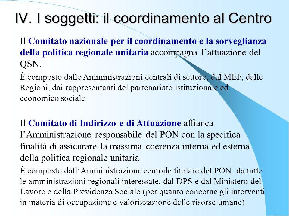 IV. I soggetti: il coordinamento al Centro Il Comitato nazionale per il coordinamento e la sorveglianza della politica regionale unitaria accompagna l