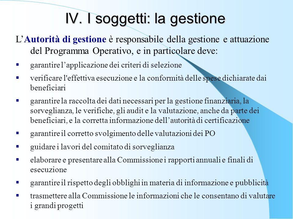 IV. I soggetti: la gestione L'Autorità di gestione è responsabile della gestione e attuazione del Programma Operativo, e in particolare deve:  garant
