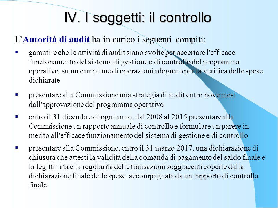 IV. I soggetti: il controllo L'Autorità di audit ha in carico i seguenti compiti:  garantire che le attività di audit siano svolte per accertare l'ef
