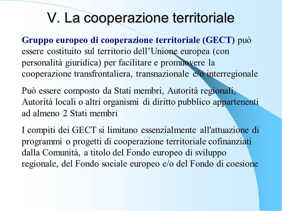 V. La cooperazione territoriale Gruppo europeo di cooperazione territoriale (GECT) può essere costituito sul territorio dell'Unione europea (con perso