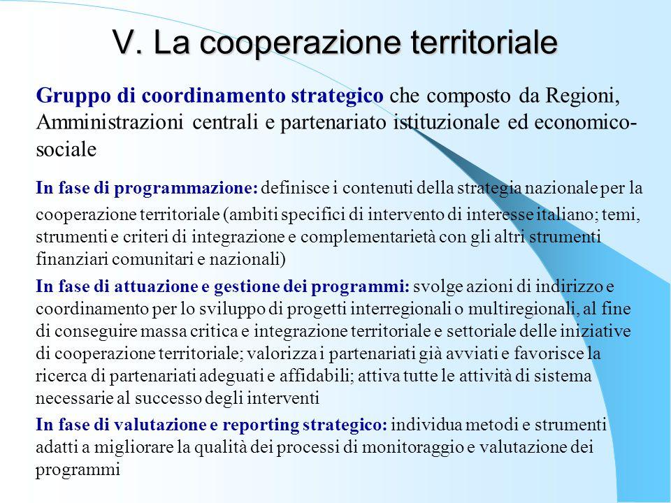 V. La cooperazione territoriale Gruppo di coordinamento strategico che composto da Regioni, Amministrazioni centrali e partenariato istituzionale ed e