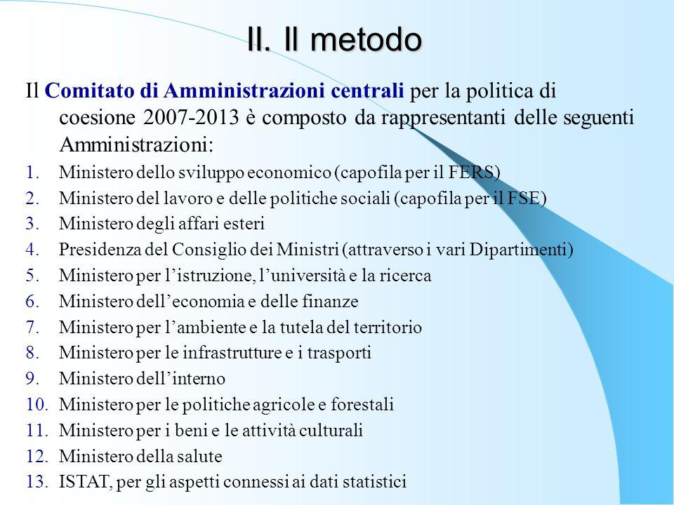 II. Il metodo Il Comitato di Amministrazioni centrali per la politica di coesione 2007-2013 è composto da rappresentanti delle seguenti Amministrazion