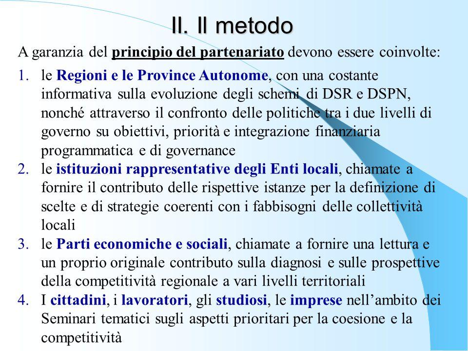 II. Il metodo A garanzia del principio del partenariato devono essere coinvolte: 1.le Regioni e le Province Autonome, con una costante informativa sul