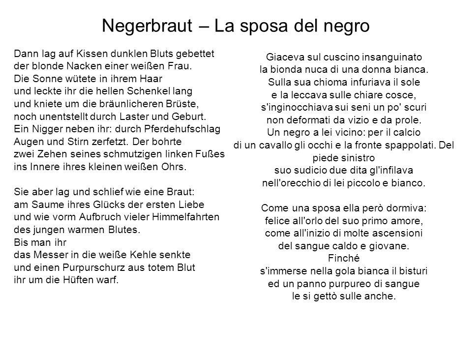Negerbraut – La sposa del negro Dann lag auf Kissen dunklen Bluts gebettet der blonde Nacken einer weißen Frau. Die Sonne wütete in ihrem Haar und lec