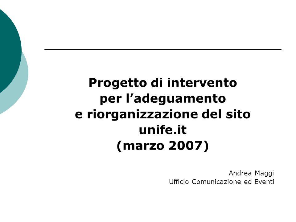 Progetto di intervento per l'adeguamento e riorganizzazione del sito unife.it (marzo 2007) Andrea Maggi Ufficio Comunicazione ed Eventi