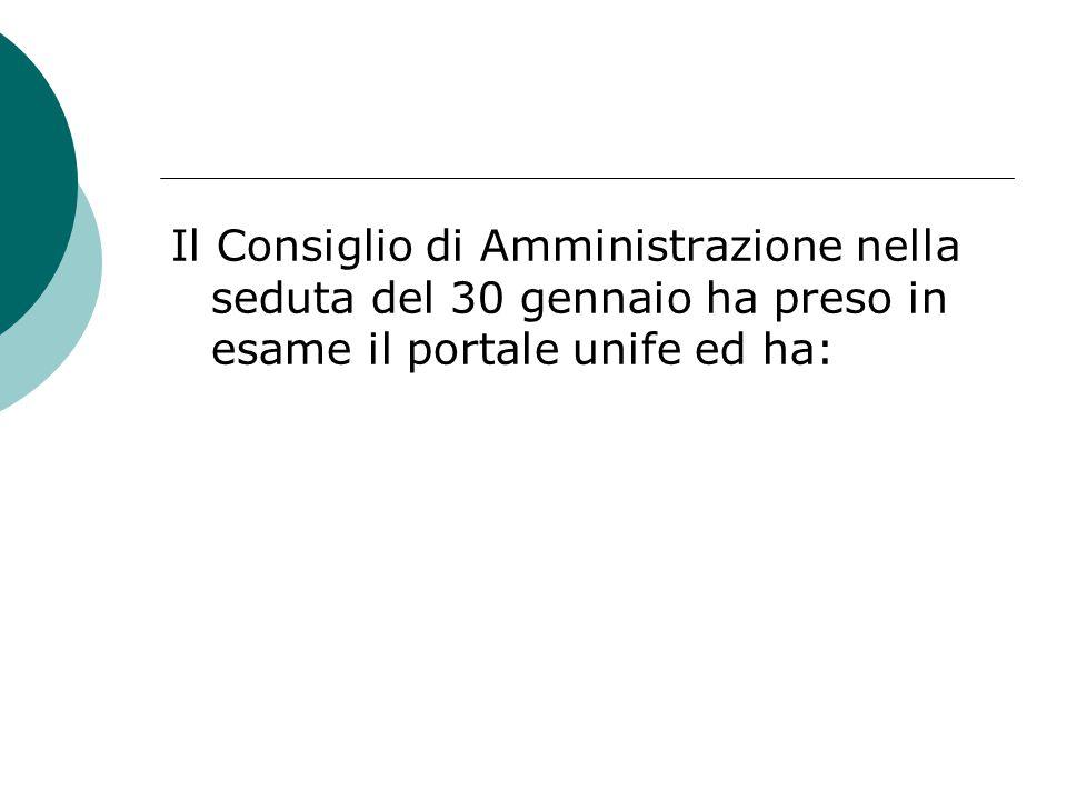 Il Consiglio di Amministrazione nella seduta del 30 gennaio ha preso in esame il portale unife ed ha: