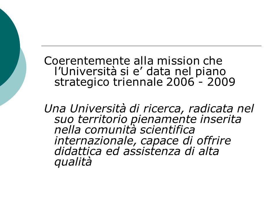 Coerentemente alla mission che l'Università si e' data nel piano strategico triennale 2006 - 2009 Una Università di ricerca, radicata nel suo territor