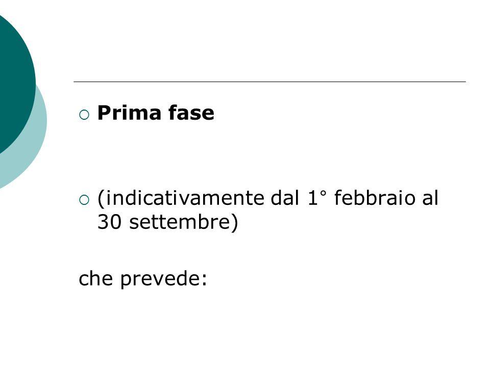  Prima fase  (indicativamente dal 1° febbraio al 30 settembre) che prevede: