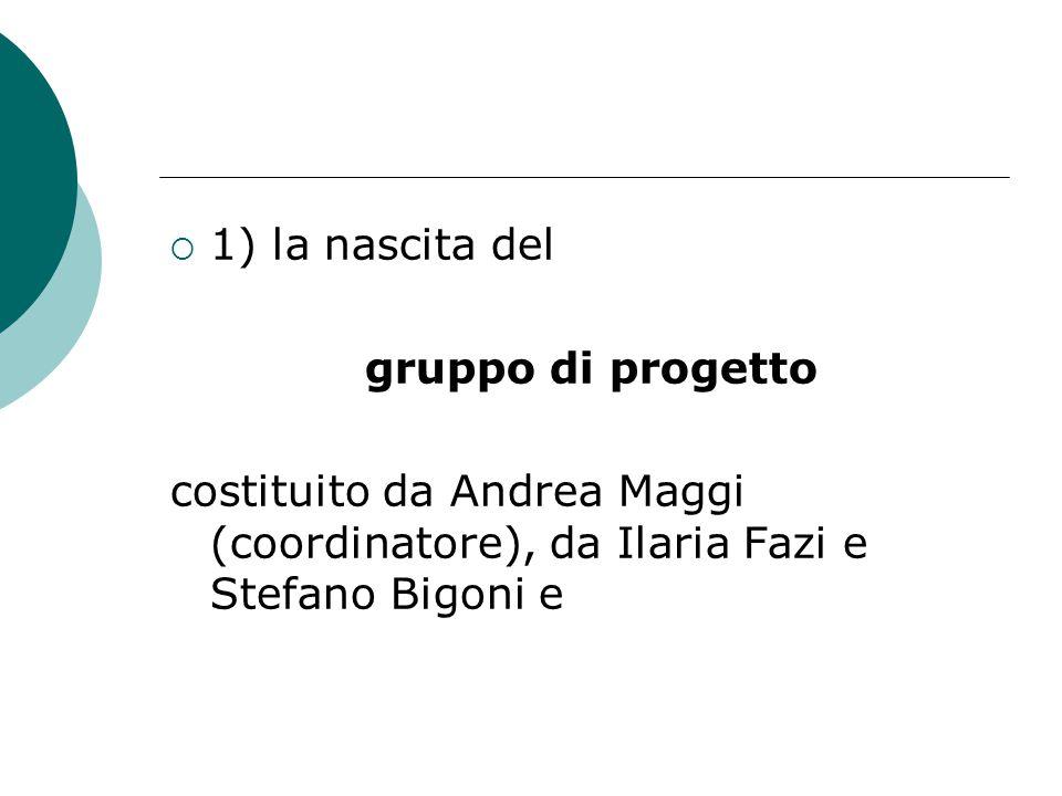 1) la nascita del gruppo di progetto costituito da Andrea Maggi (coordinatore), da Ilaria Fazi e Stefano Bigoni e
