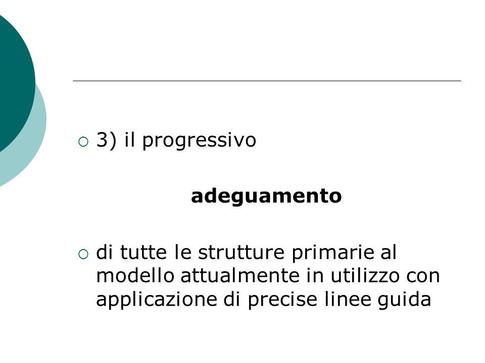  3) il progressivo adeguamento  di tutte le strutture primarie al modello attualmente in utilizzo con applicazione di precise linee guida
