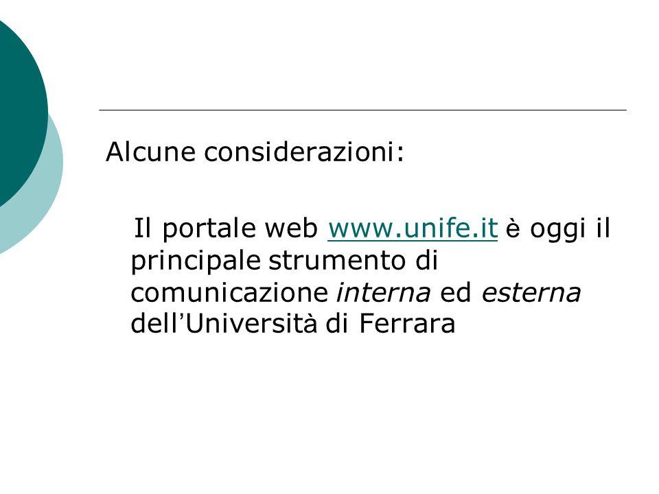 Alcune considerazioni: Il portale web www.unife.it è oggi il principale strumento di comunicazione interna ed esterna dell ' Universit à di Ferrarawww