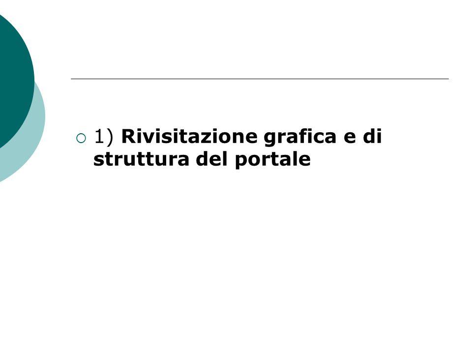  1) Rivisitazione grafica e di struttura del portale