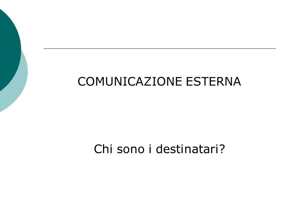 COMUNICAZIONE ESTERNA Chi sono i destinatari?