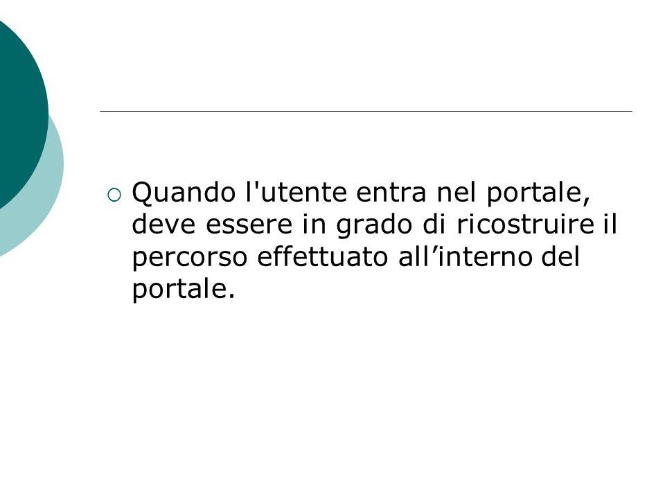  Quando l'utente entra nel portale, deve essere in grado di ricostruire il percorso effettuato all'interno del portale.