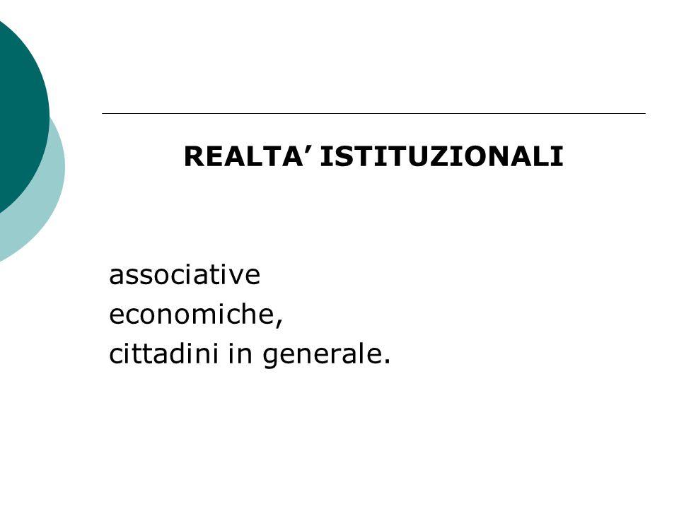 REALTA' ISTITUZIONALI associative economiche, cittadini in generale.