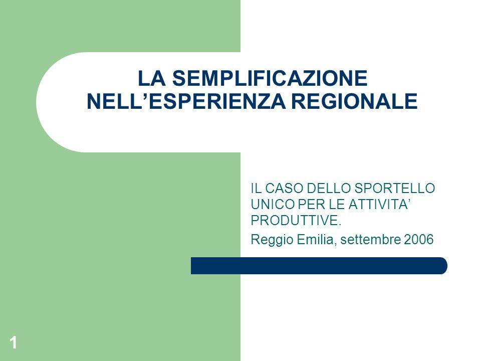 22 Le linee di tendenza della semplificazione regionale:la Regione Emilia-Romagna Norme di indirizzo per la semplificazione regionale: la L.r.