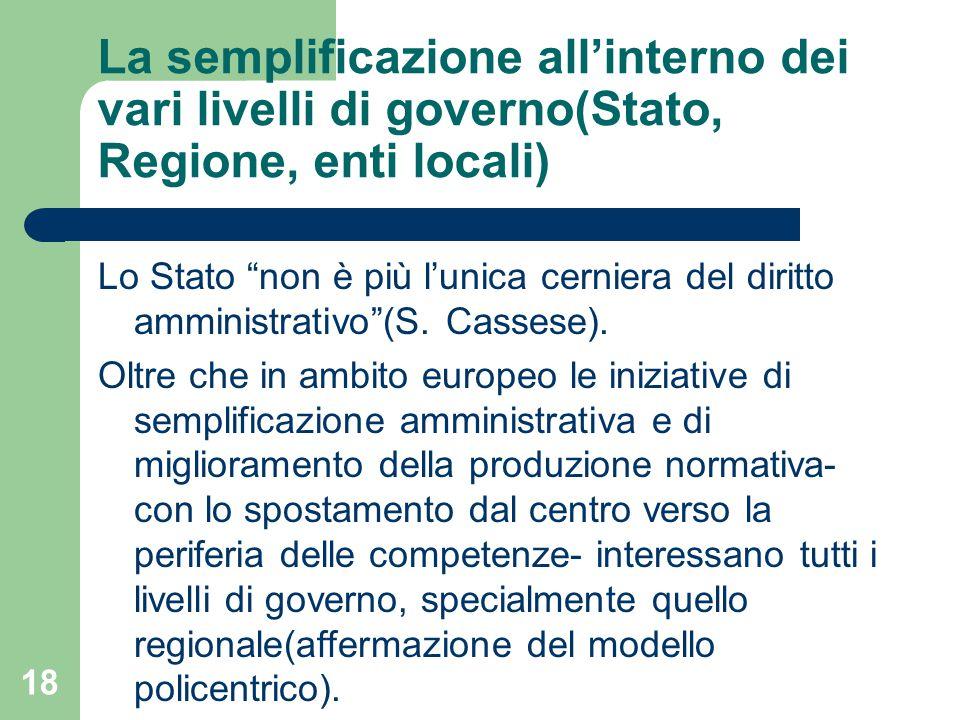 18 La semplificazione all'interno dei vari livelli di governo(Stato, Regione, enti locali) Lo Stato non è più l'unica cerniera del diritto amministrativo (S.