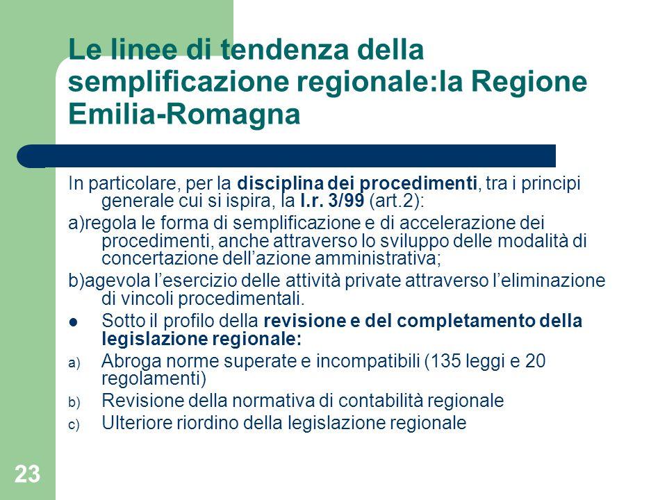 23 Le linee di tendenza della semplificazione regionale:la Regione Emilia-Romagna In particolare, per la disciplina dei procedimenti, tra i principi generale cui si ispira, la l.r.