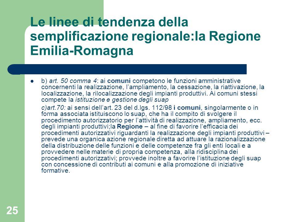 25 Le linee di tendenza della semplificazione regionale:la Regione Emilia-Romagna b) art.