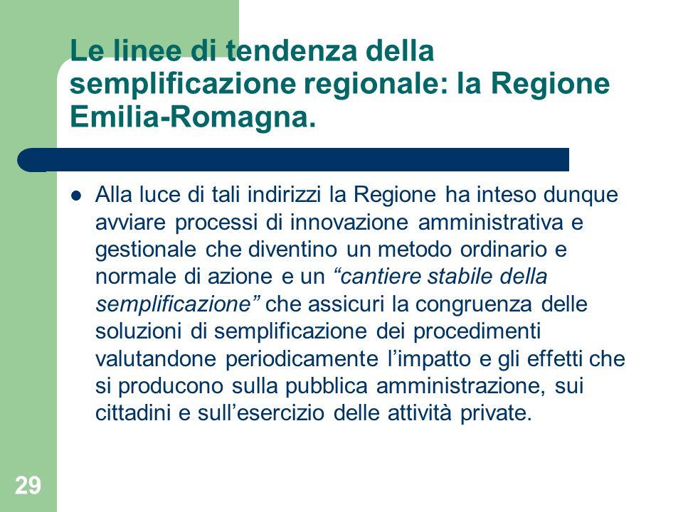 29 Le linee di tendenza della semplificazione regionale: la Regione Emilia-Romagna.