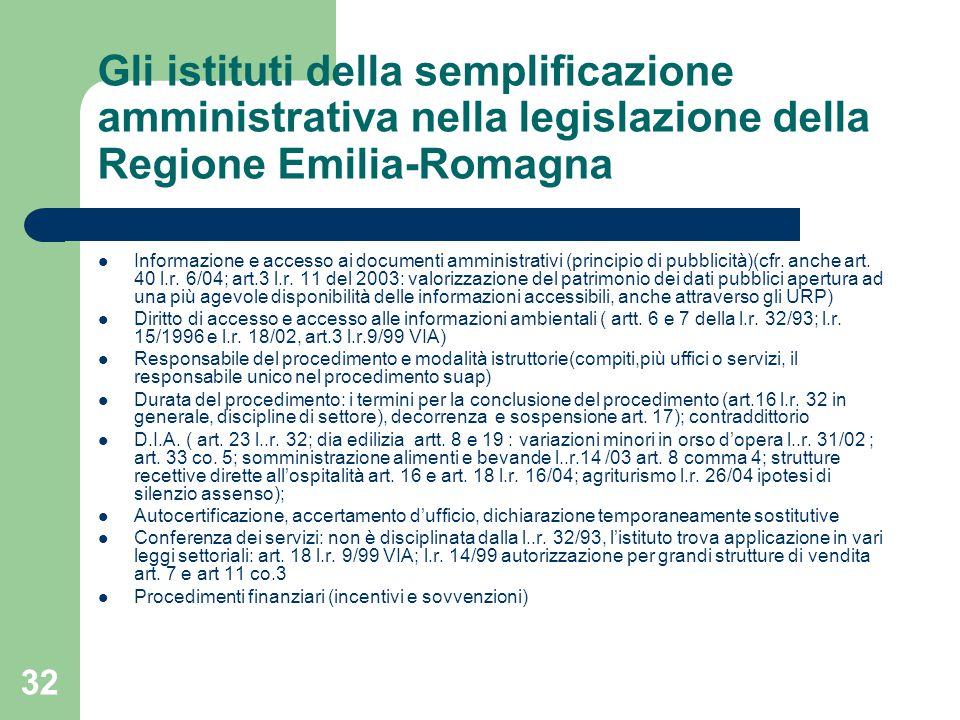 32 Gli istituti della semplificazione amministrativa nella legislazione della Regione Emilia-Romagna Informazione e accesso ai documenti amministrativi (principio di pubblicità)(cfr.