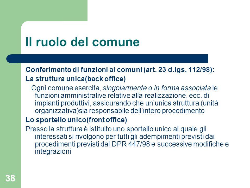 38 Il ruolo del comune Conferimento di funzioni ai comuni (art.