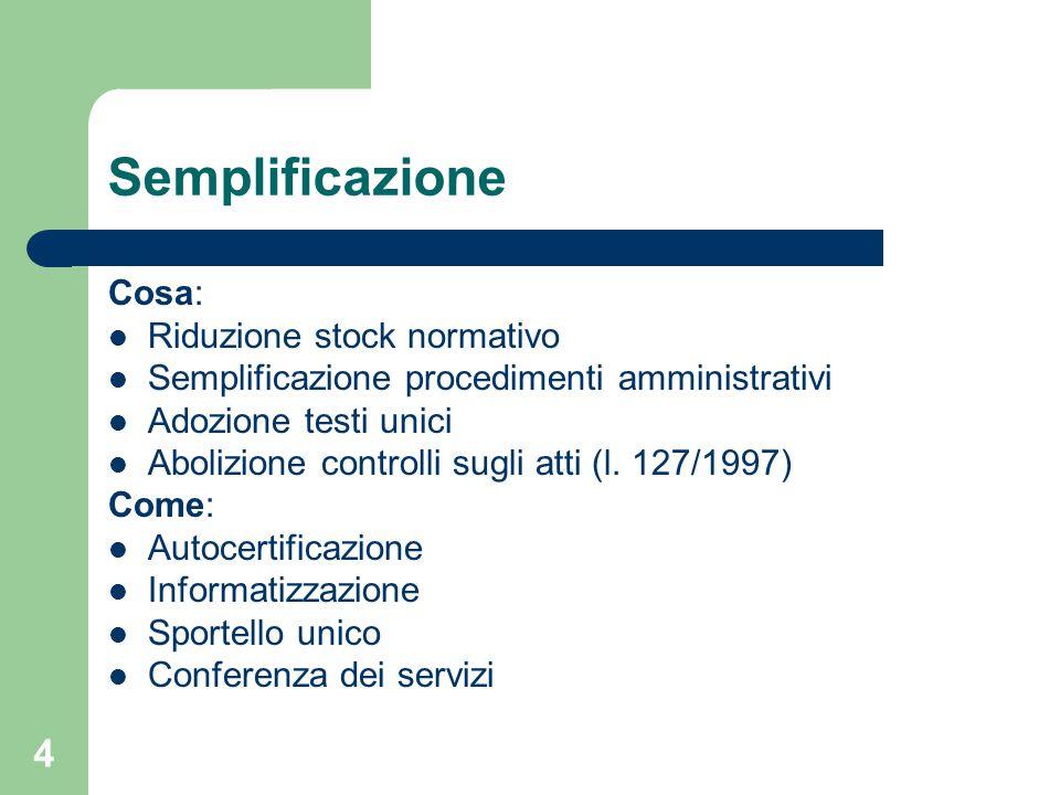 4 Semplificazione Cosa: Riduzione stock normativo Semplificazione procedimenti amministrativi Adozione testi unici Abolizione controlli sugli atti (l.