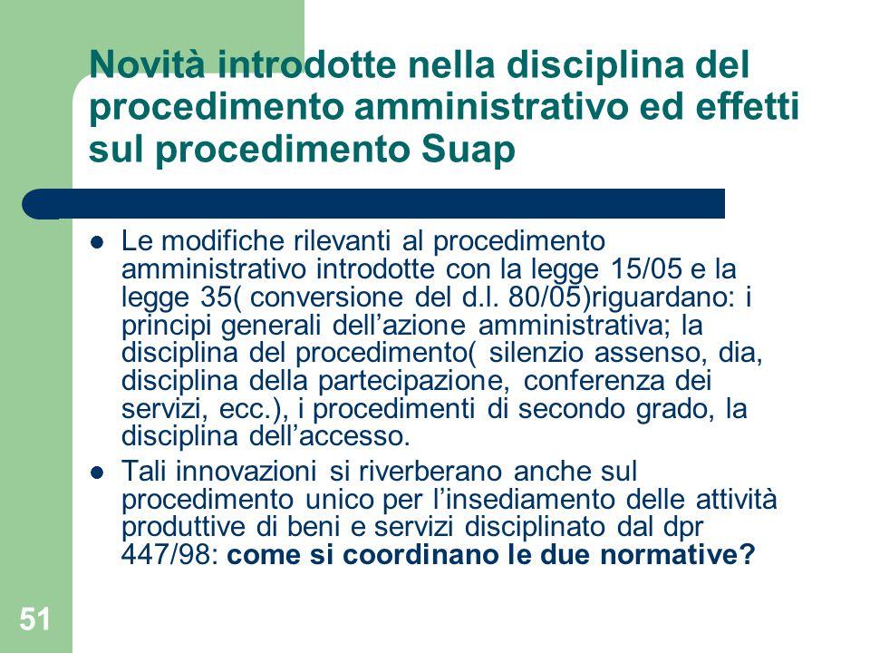 51 Novità introdotte nella disciplina del procedimento amministrativo ed effetti sul procedimento Suap Le modifiche rilevanti al procedimento amministrativo introdotte con la legge 15/05 e la legge 35( conversione del d.l.
