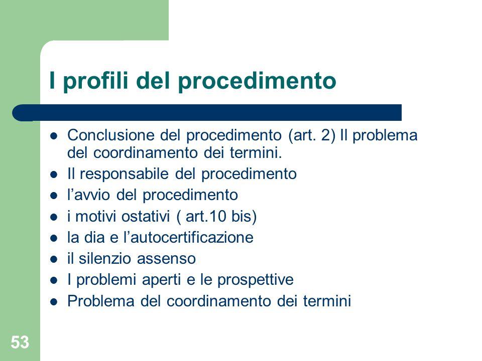 53 I profili del procedimento Conclusione del procedimento (art.