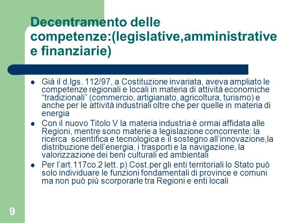 10 Decentramento delle competenze:(legislative,amministrative e finanziarie) Elementi di bilanciamento del forte decentramento sono: a) Flessibilità e differenziazione (sussidiarietà) per la concreta assegnazione dei compiti b) Interventi centrali di coordinamento e/o sostitutivi per ragioni di unitarietà e di salvaguardia dell'ordinamento comunitario