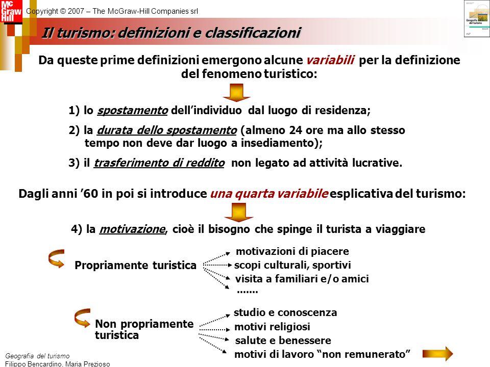Geografia del turismo Filippo Bencardino, Maria Prezioso Copyright © 2007 – The McGraw-Hill Companies srl 1) lo spostamento dell'individuo dal luogo d