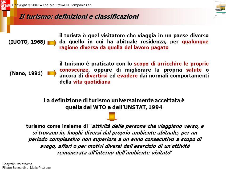Geografia del turismo Filippo Bencardino, Maria Prezioso Copyright © 2007 – The McGraw-Hill Companies srl Il turismo: definizioni e classificazioni il